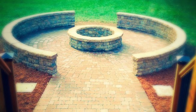 patio, wall, firepit